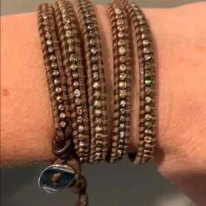 Chan Luu Brown Leather Wrap Bracelet